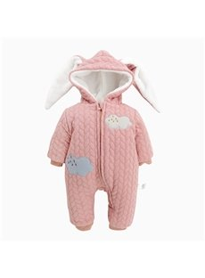 Clouds Printed Rabbit Ear Cotton and Velvet Simple Style Pink Baby Sleeping Bag