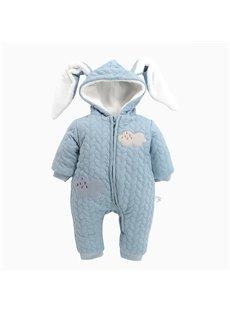 Rabbit Shape Cotton and Velvet Simple Style Light Blue Baby Sleeping Bag/Jumpsuit
