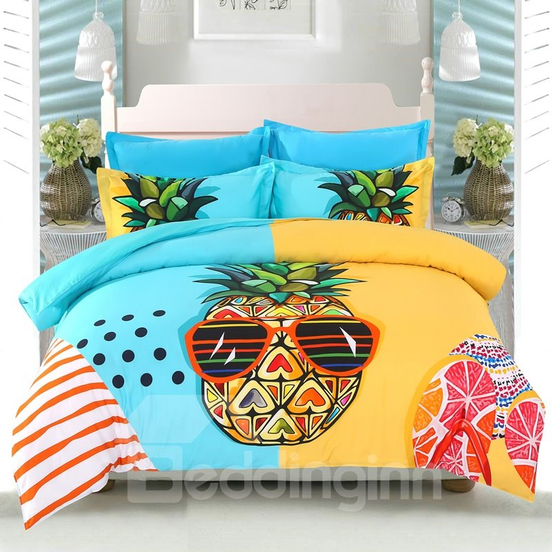Cool Pineapples Holiday Seaside Leisure Casual Style Cotton 4-Piece Bedding Sets/Duvet Cover