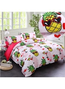 Sweet Pineapples Summer Seaside Party Casual Style Cotton 4-Piece Bedding Sets/Duvet Cover