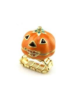Adjustable Pumpkin Halloween Metal Cross Ring