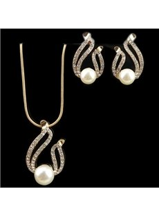 Pearl Choker Chunky Pendant Bib Necklace Earring Jewelry Set