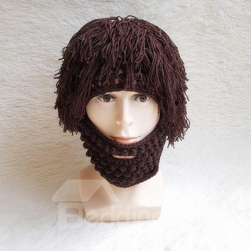 Women Men Beard Wig Funny Knit Wool Hats Caps Halloween Decorate