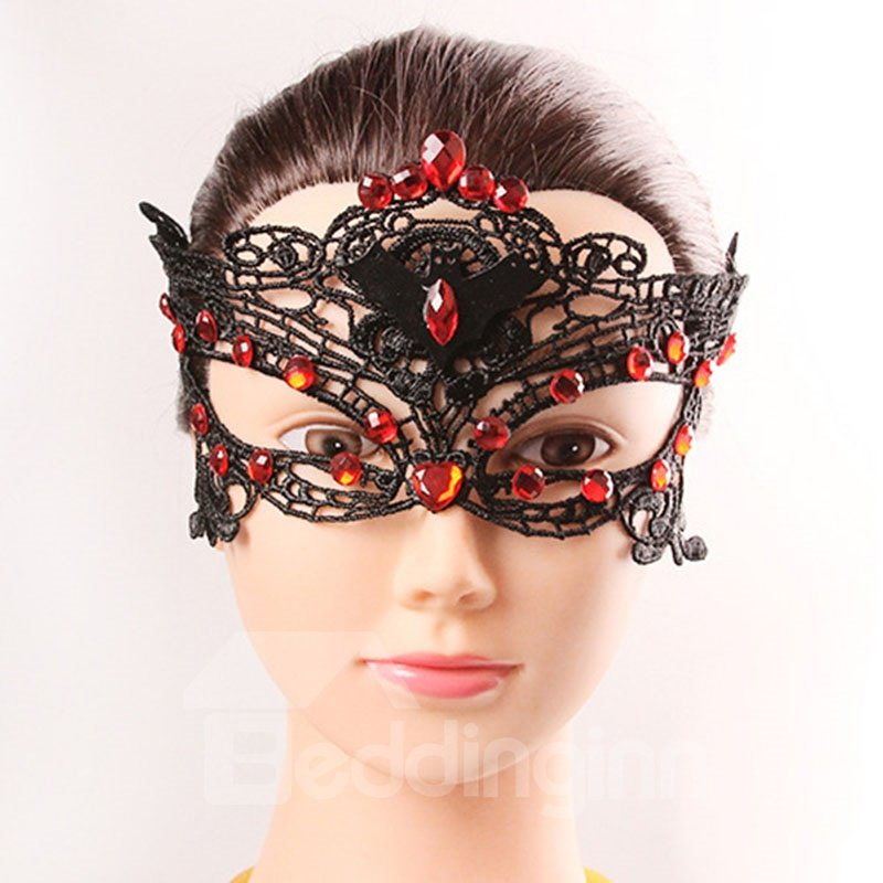 Sexy Mysterious Halloween Hollow Red Black Mask