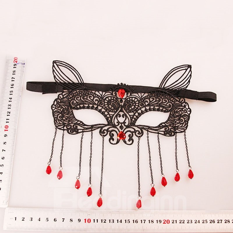 Ladies Face Mask Tassel Crystal Sexy Fox Halloween