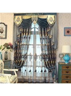 Wonderful Navy Blue Hollowed-out Pattern Noble Style 2 Pieces Living Room and Bedroom Curtain