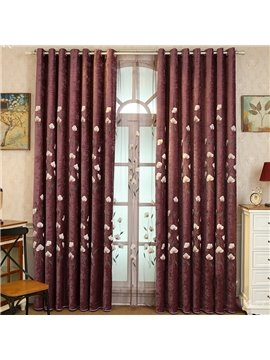 Dark Red Shading Cloth with Beige Flowers Polyester Cotton 2 Panels Living Room Curtain