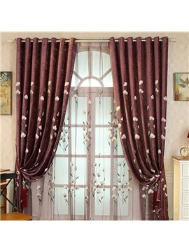 Transparent Sheer Curtain with Beige Flowers Chenille Materials Printing Living Room Window Sheer Curtain