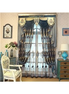 Navy Blue Hollowed-out Beautiful Damask Pattern Living Room and Bedroom Sheer Curtain