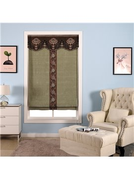 Dark Green Shading Cloth with Brown Flowers Decorative and Blackout Roman Shade