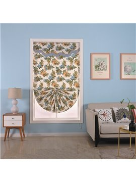 Light Grey Shading Cloth with Subtropical Plant Leaves Square and Sector Roman Shade