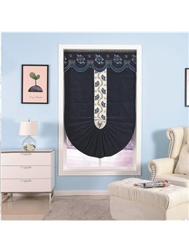Dark Blue Color with White Flowers Modern and European Decorative and Blackout Roman Shade