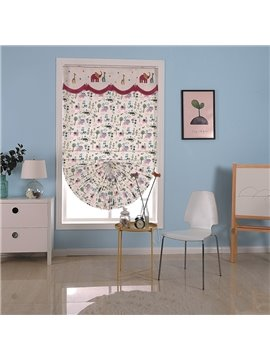 Modern and Pastoral Style Thick Cotton Shading Cloth and Valance Roman Shade