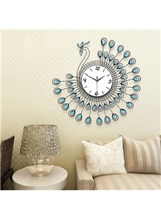 Blue Peacock Feather and White Dial Iron and Diamond Battery Hanging Wall Clock