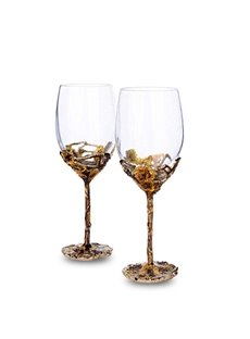 Elegant and Creative Style Golden Grape With Leaf Pattern Red Wine Goblet Glasses