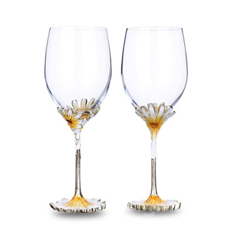 Elegant and Creative Style Sun Flower Pattern Red Wine Goblet Glasses