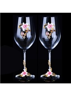 High Enamel Crystal With Elegant Flowers Red Wine Glass Birthday Gift