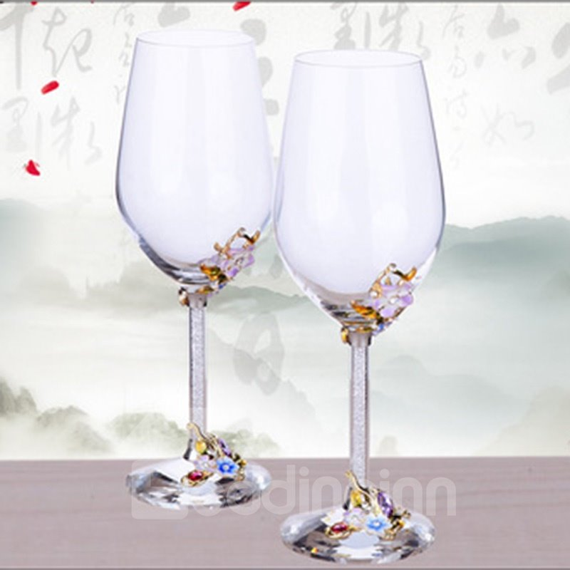 Creative Tall Glasses with Diamonds Modern and Fashion Red Wine Glass