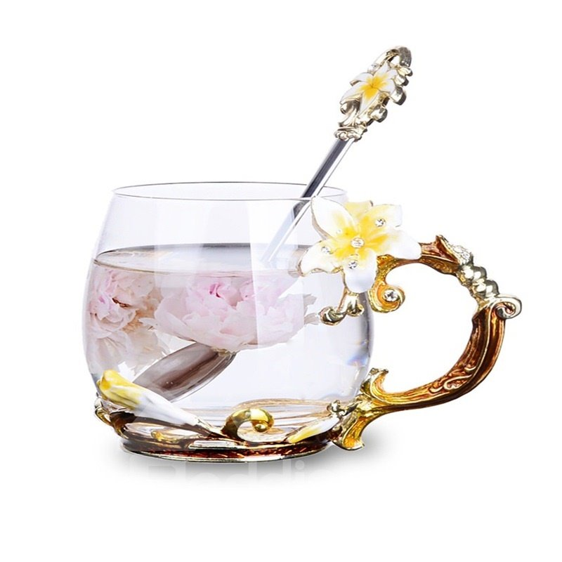 Modern and Pastoral Style Creative Birthday Gift Yellow Lily Flowers Crystal Enamel Tea Cup