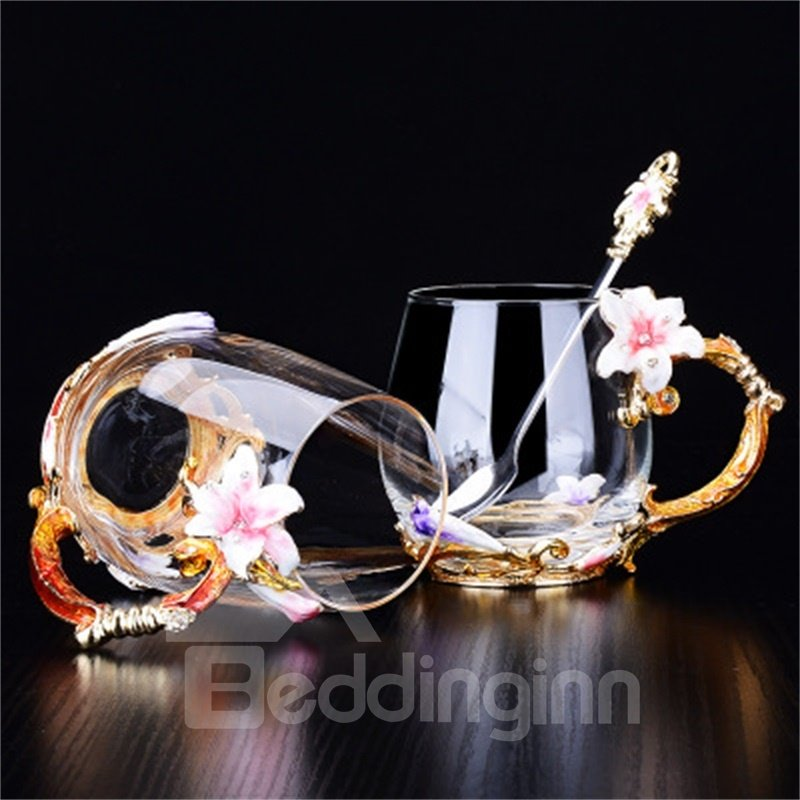 Modern and Fashion Style Creative Birthday Gift Pink Lily Flowers Crystal Enamel Cups