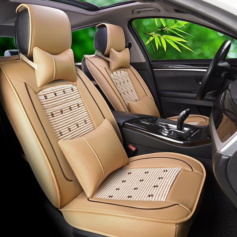 Leather&Net Cloth Refreshing Bright Enviable Front Single-seat Universal Car Seat Cover