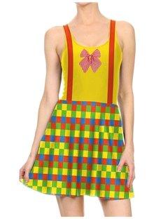 Women's 3D Printed Color Block Halloween Mini Skater Tank Dresses