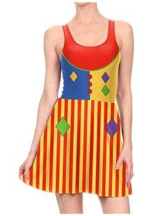 Women's 3D Printed Vertical stripes Clown Color Halloween Mini Skater Tank Dresses