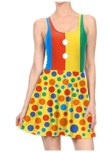 Women's 3D Printed Colorful Dots Halloween Mini Skater Tank Dresses
