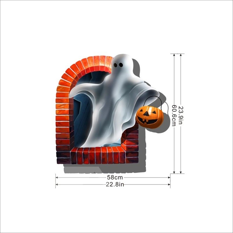 3D Halloween Ghost with Jack-o-lantern Printed PVC Water-resistant Eco-friendly Removable Self-adhesive Wall Stickers