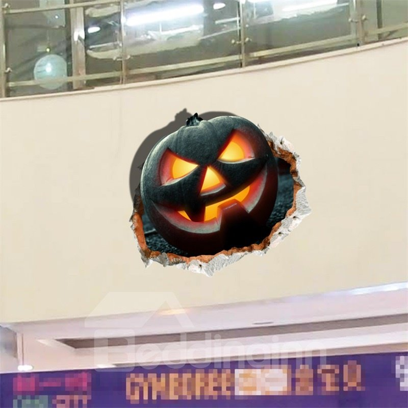 3D Halloween Jack-o-lantern PVC Water-resistant Eco-friendly Removable Self-adhesive Wall Stickers