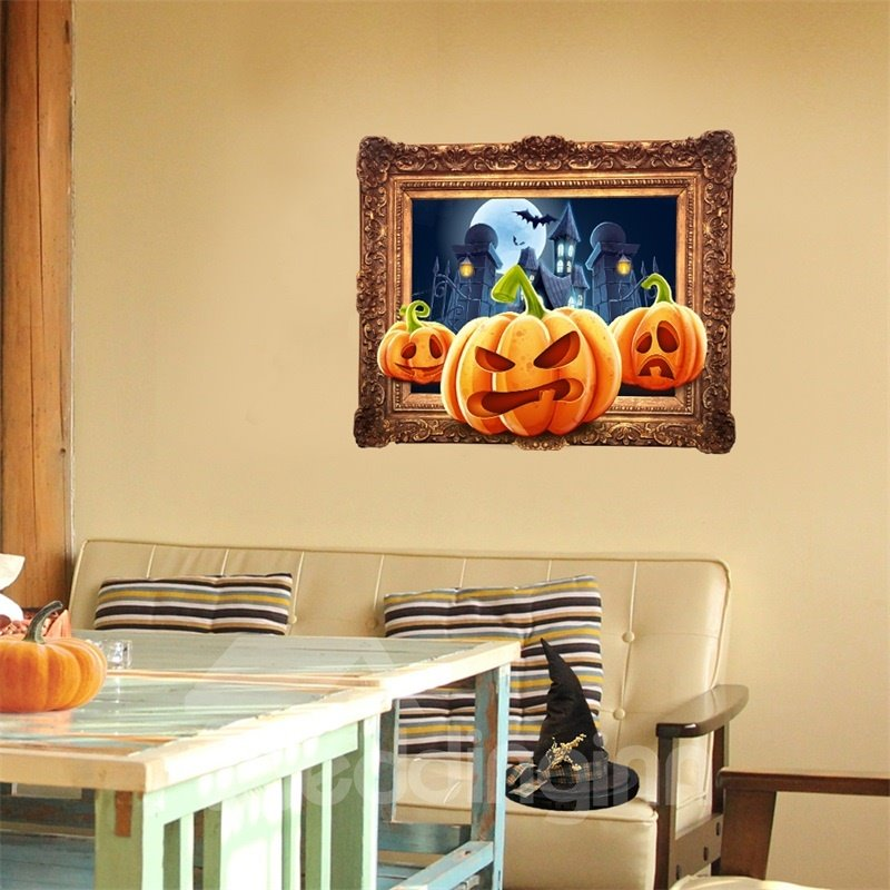 3D Halloween Jack-o-lantern and Golden Frame PVC Water-resistant Eco-friendly Removable Self-adhesive Wall Stickers