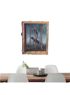 3D Halloween Ghost in Window PVC Water-resistant Eco-friendly Removable Self-adhesive Wall Stickers