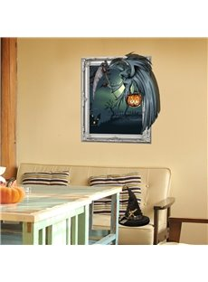 3D Halloween Ghost with Jack-o-Lantern PVC Water-resistant Eco-friendly Removable Self-adhesive Wall Stickers