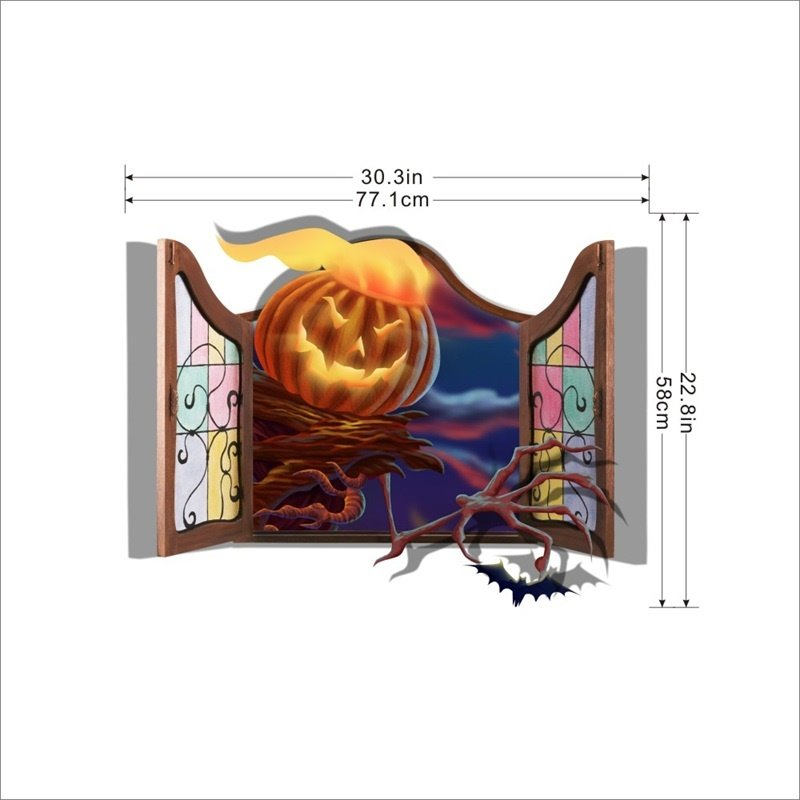 3D Halloween Window Jack-o-lantern PVC Water-resistant Eco-friendly Removable Self-adhesive Wall Stickers