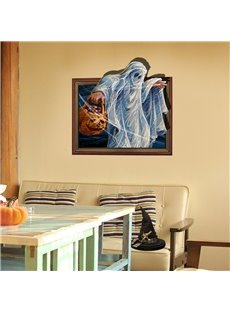 3D Halloween Ghost with Pumpkin Basket PVC Water-resistant Eco-friendly Removable Self-adhesive Wall Stickers