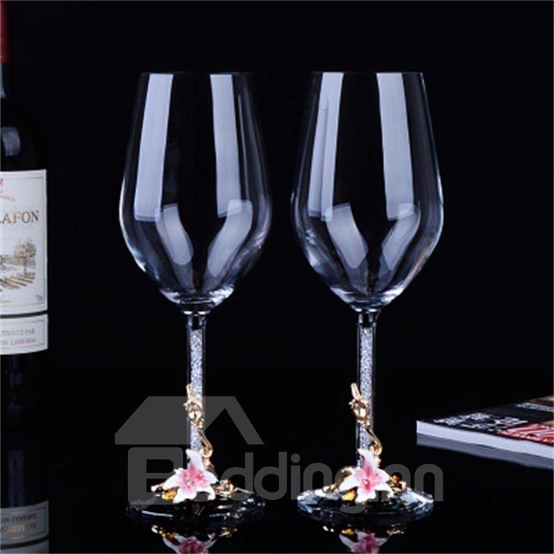 Elegant and Modern Style Flowers Pattern Wine Glasses 1-Pair Wedding Gift