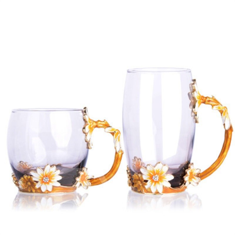 Creative and Elegant Style Golden Chrysanthemum Pattern Retro Transparent Enamels Birthday Gift Office Cup Sets