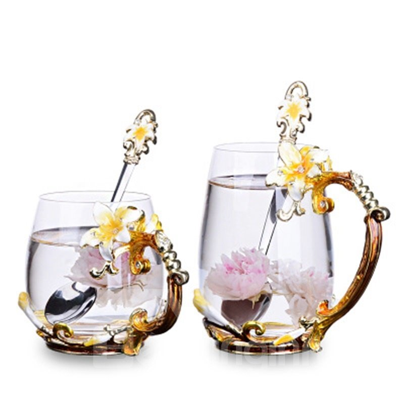 Modern and Concise High Grade Crystal Enamel Yellow Flowers Coffee Cup Sets