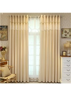 Solid Light Yellow Polyester Curtain Noble and Elegant Living Room and Bedroom Curtain