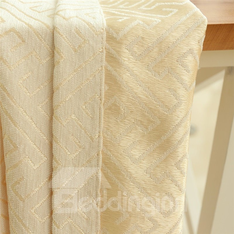 Solid Light Yellow Polyester Curtain Noble And Elegant