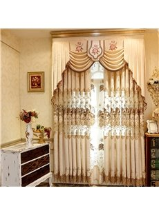Beige Polyester Curtain with Hollowed-out Flowers 2 Pieces Living Room Decorative Curtain