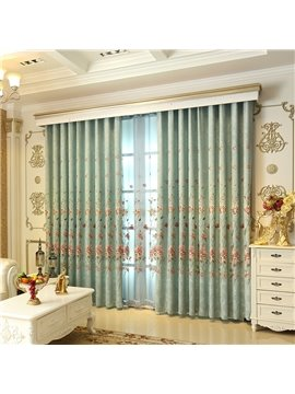 Modern and Pastoral Style Light Green with Beautiful Flowers 2 Panels Grommet Top Curtain