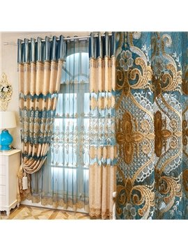 Classical Damask in Light Blue and Beige Polyester Modern and Fashion Sheer Curtain