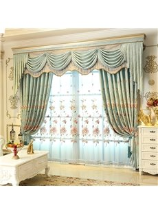 Decorative and Breathable Light Blue with Embroidered Flowers 2 Panels Living Room Sheer Curtain