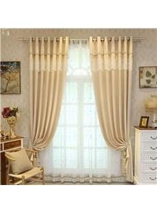 Decorative and Breathable 2 Pieces Light Yellow Color Living Room Window Sheer Curtain