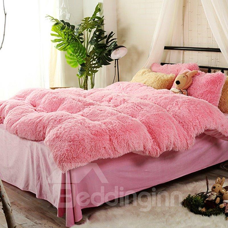 Full Size Sweet Pink Super Soft Plush 4 Piece Fluffy