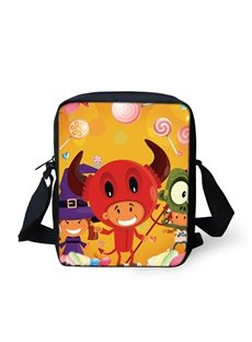 3D Halloween Cow Pattern Messenger School Bag