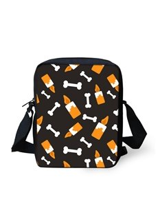 3D Halloween Candle Bone Pattern Messenger School Bag