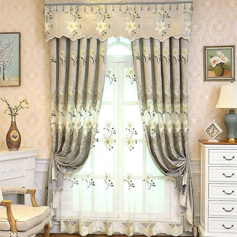 awesome light green living room curtains   Light Green Chenille Materials Embroidered Flowers Living ...