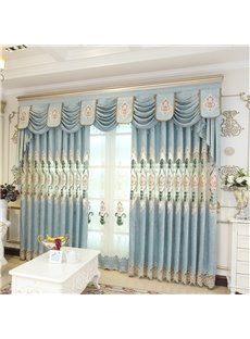Beautiful Light Blue Embroidered Flowers Modern and Elegant Style 2 Panels Curtain